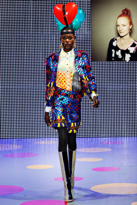 Louise Gray is a hand embroiderer who first studied at The Glasgow School of Art and went on to graduate with an MA from Central Saint Martins College in London. Immediately following her graduation she was selected by Fashion East, and showed three seasons there.  Louise has spent the last three seasons building a label based on brightly hued, boldly textured garments whose shapes are simple and where movement and embellishment take center stage. Employing a wide range of materials nothing is quite what it seems in Gray's work. Contrast is key and Gray reworks traditional stitches and embroidery techniques to create modern folk details and trompe l'eoile effects.      View Fall 2011 (STYLE)