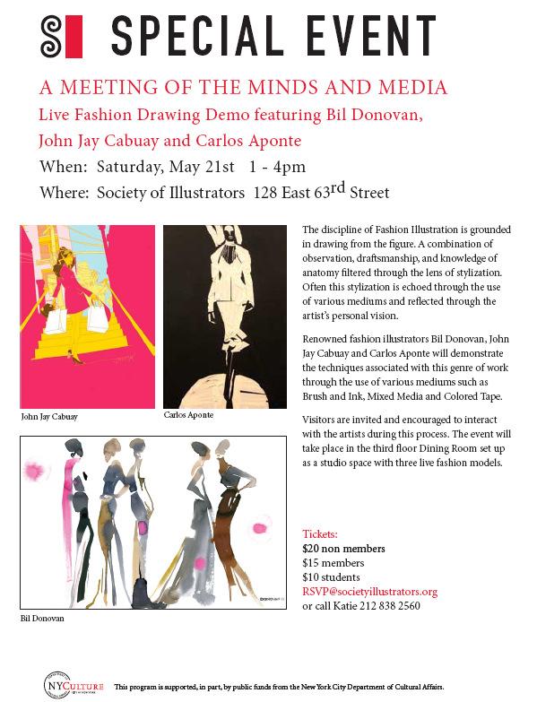 bil donovan society of illustrators demo event fashion illustration