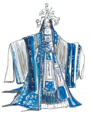 """Mary Traylor designed the costumes for the principal roles in """"Turandot,"""" including that of the title character, shown here in one of Traylor's renderings. The principal costumes were made in Kansas City. The rest were made in China."""