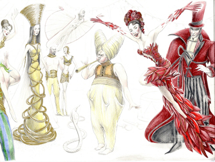 """""""In talking with the director and other designers, we envisioned an Art Deco theme for the Zarkana costumes,"""" notes Slovenia-based designer Alain Hranitelj, about his first complete project for Cirque du Soleil (he had worked on an uncompleted project for Macau several years ago)"""