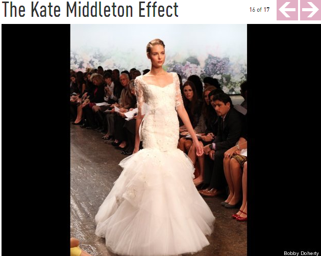 """the Kate Middleton Effect: designers showed 3/4 sleeves that featured the demure look of the classic Duchess of Cambridge's now-famous Sarah Burton for Alexander McQueen frock, though Lhuillier, at least, told us that she has been doing sleeves for several seasons--""""long before Kate wore them!"""""""